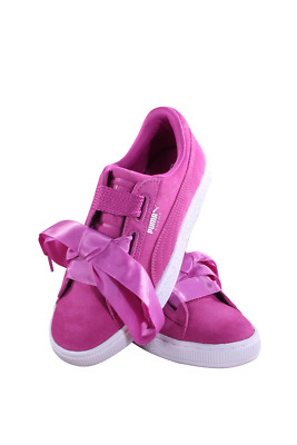 Grade School Puma Suede Heart Jr 365009-01 Rose Violet Puma White