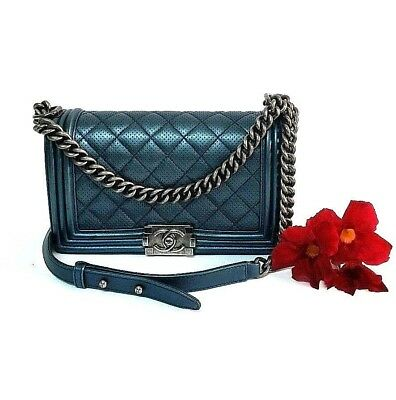 9a52f7367148 Authentic CHANEL Blue Quilted Perforated Leather Medium Boy Shoulder Bag