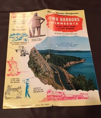 VINTAGE 1960's TWO HARBORS MINNESOTA LAKE SUPERIOR BROCHURE MAP