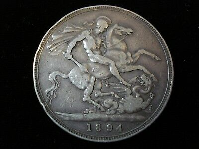 Great Britain 1894 Crown Sterling Silver Coin #NK