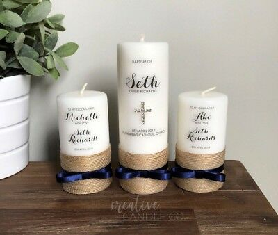 Personalised Bow Christening Candle Set, Baptism Candle or Naming Day Candle