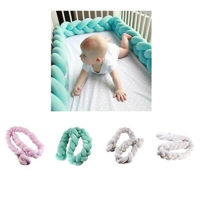 200cm Infant Baby Plush Bumper Home Bed Bedding Crib Cot Braid Cushion Protector