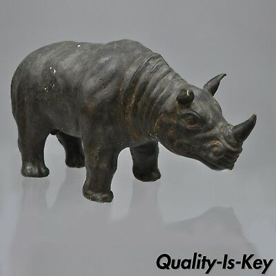 "Vintage Patinated Bronze Clad Rhino Rhinoceros Statue Sculpture Figure 16"" Long"
