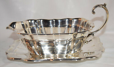 Reed & Barton Windsor Sterling Silver Gravy Sauce Boat and Stand No Mono USED
