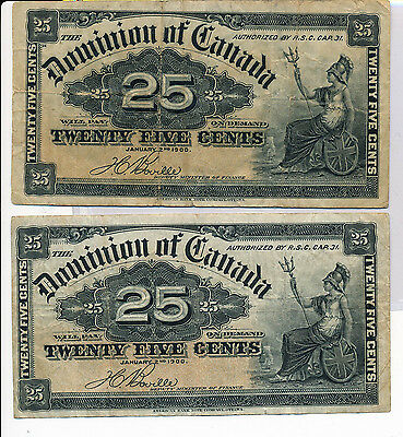 RC0147 Canada 1900 25 Cents dominion a group of 2 combine shipping