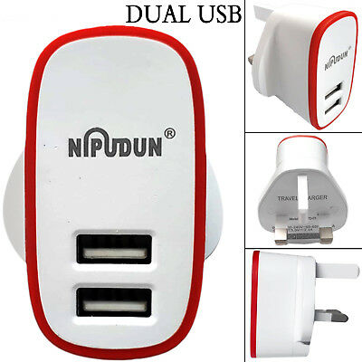 Dual Usb Port Wall 3 Uk Pin Mobile Phone Fast Charging Charger Adapter Plug