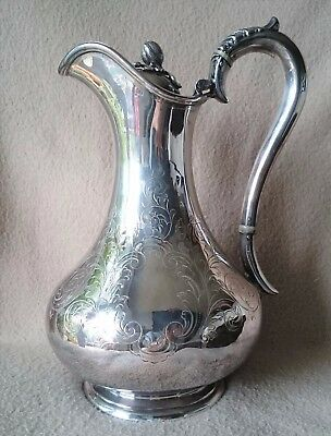 ANTIQUE ENGLISH MARTIN & HALL Co SHEFFIELD SILVER PLATE CLARET WATER JUG PITCHER