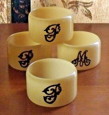 Vintage Set Of 4 Celluloid And Silver Letter Napkin Rings