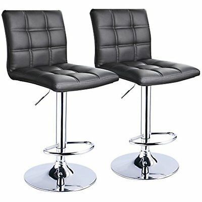 Brilliant Modern Square Pu Leather Adjustable Bar Stools Back Set Of 2 Machost Co Dining Chair Design Ideas Machostcouk