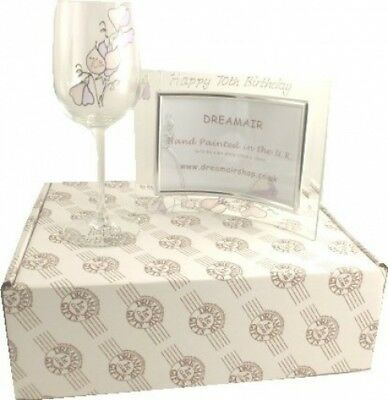 90th Birthday Sweet Pea Wine Glass and Frame Gift Set. Dreamairshop Ltd UK