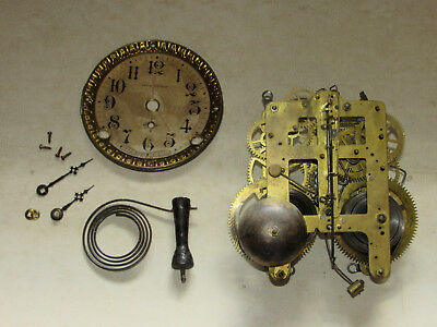 Vtg Seth Thomas Mantle Clock Movement WORKING Face, hands, Chimes, Running 89C
