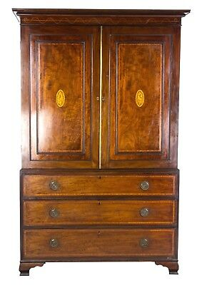 Mahogany Linen Press, Antique Armoire, Cabinet, Chest of Drawers, 1790, B996