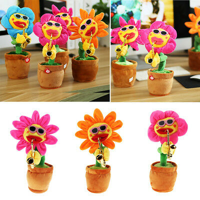 Dancing Sunflower Electronic Singing Toy Flower Bobble Plant Pot Swing