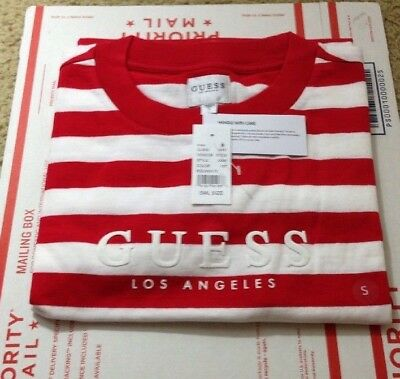 d8660c8171de NEW NWT Guess Los Angeles Red White Palm Stripe T Shirt - Size Small S