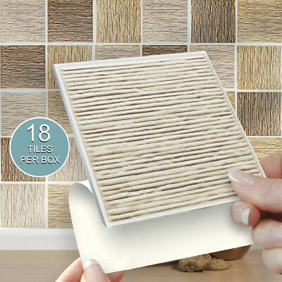 """18 Riven Mix 4"""" x 4"""" Stick On Self Adhesive Tile Stickers Kitchen & Bathroom"""