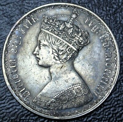 1864 GREAT BRITAIN - ONE FLORIN - .925 SILVER - Victoria (Gothic) - Some Toning
