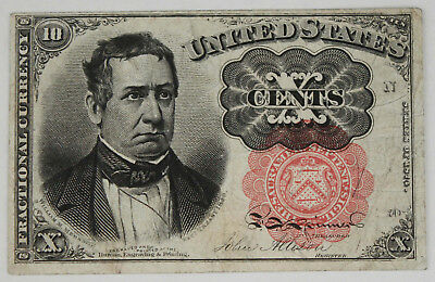 1874-1876 10 Cent Fractional Currency Note 5th Issue Red Seal XF Fr-1265