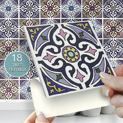 """18 Morocco 4"""" x 4"""" Stick On Self Adhesive Tile Stickers Kitchens & Bathrooms"""