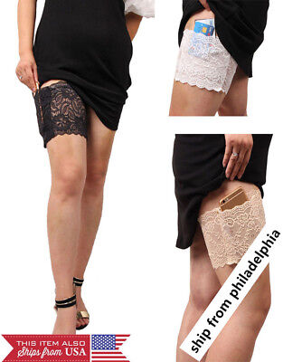 Women's Concealed Lace Sock Small Thigh Purse Holster Garter with Pockets