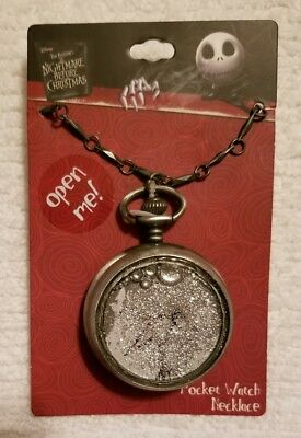 Disney The Nightmare Before Christmas Jack Snow Globe Pocket Watch Necklace *NEW