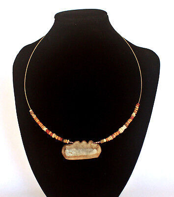 Silver wire necklace, Ancient Egyptian HYKSOS faience beads flint stone pendant