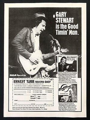 1976 Vintage Print Ad GARY STEWART Ernest Tubb Record Store RCA Record Release