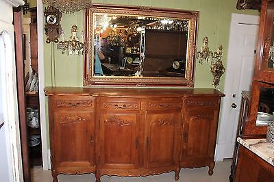 French Antique Louis XV Walnut Long Sideboard Buffet with 4 Doors & 4 Drawers
