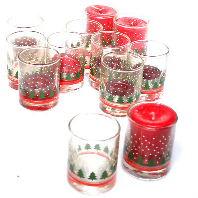D83 Libbey Holiday Shot glasses Candle Holder Lot of 12 Snow tree Christmas
