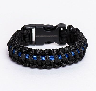 (X-Large) - Police Thin Blue Line Paracord Bracelet (Style #2). Best Price