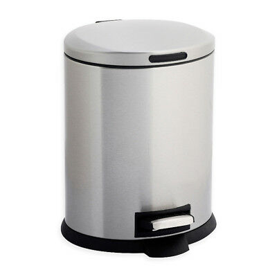 Stainless Steel Bathroom Trash Can Hands Free Foot Pedal Open Waste