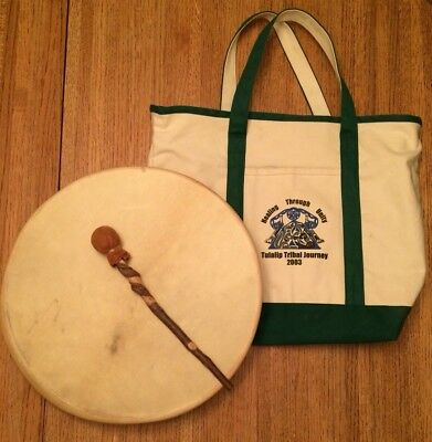"17"" Lg Hand Made Native American Hand Held Drum With Striker/beater & Tote Bag"