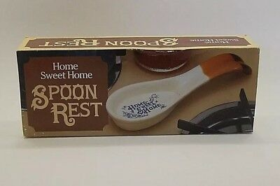 Vintage Spoon Rest Home Sweet Home Spoon w Blue & Flowers Kitchen Collectible