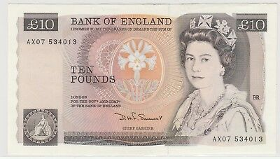1984 £10 , Ten Pounds Bank Of England D H F Sommerset  Note Uncirculated 013