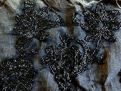 Antique 19th Century Textile Jet Beads Floral Embroidery fragment