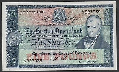 1962 £5 , Five Pounds The British Linen Bank Scotland Note Crisp Circulated 939