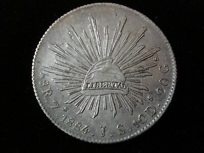 Mexico 1884 8 Reales Silver Coin High Grade #NK