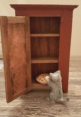 Dollhouse miniature painted wood pie safe/jelly cupboard, signed, w/cat and pie