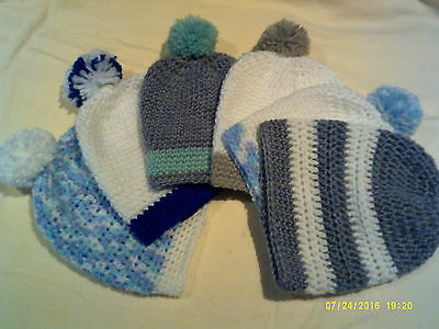 CROCHET BABY BOY BEANIE..0-3MTHS..choice of design..set postage for up to 6..NEW