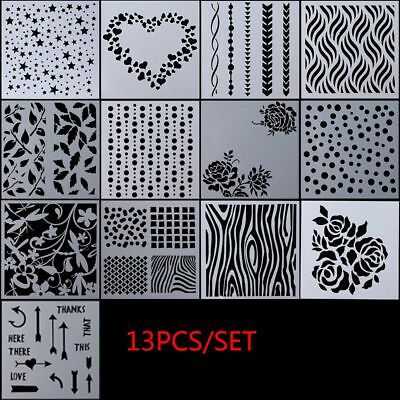 13pcs/set Embossing Template Scrapbooking Layering Stencils Walls Painting