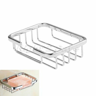 1pc Wall Mounted Soap Holder Dish Basket Tray Bathroom Washroom Stainless Steel
