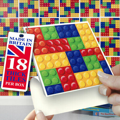 """18 Playtiles 4"""" x 4"""" Stick On Self Adhesive Tile Stickers Playrooms & Bathrooms"""