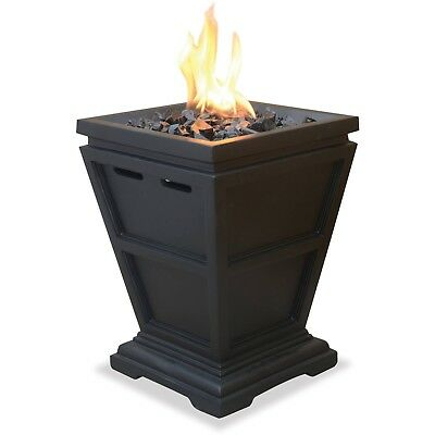 OUTDOOR FIRE PIT Fireplace Table Top Great Little Propane LP Gas - Black propane fire pit table