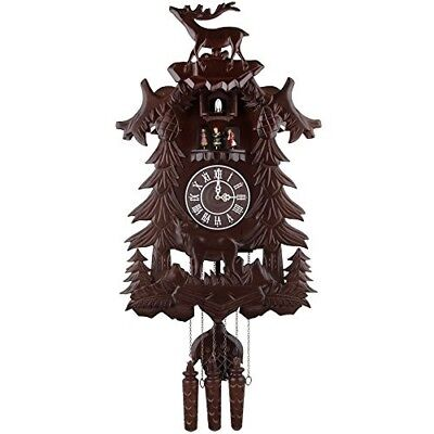 Vintage Black Forest Cuckoo Clock Perfect Details Deer Wooden Music Dancers Gift