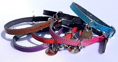 Leather Cat / Kitten Collar, Safety Elastic, Bell & 20mm Nickel Engraved ID tag