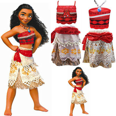Disney Moana Costume dress Up Complete Outfit Ocean Age 3-10 Years u0026 Hair Flower  sc 1 st  PicClick UK & DISNEY MOANA COSTUME dress Up Complete Outfit Ocean Age 3-10 Years ...