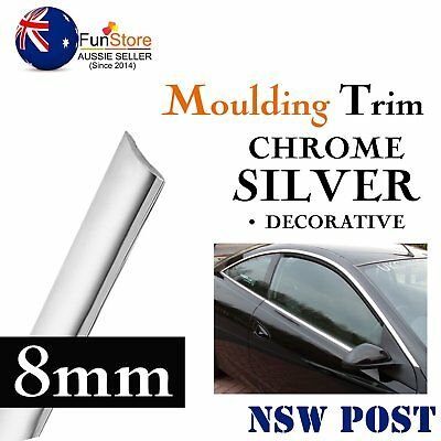 8M Chrome Silver Moulding Trim Strip Car Window Doors Exterior Edging Decal 8mm