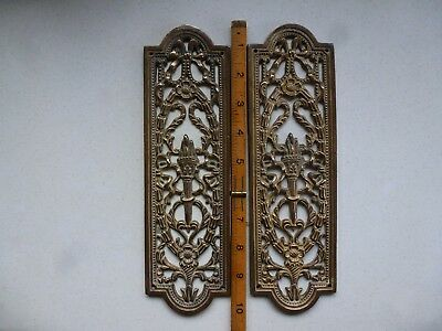 Vintage brass door finger plate push handle gilt ornate rococo x 2