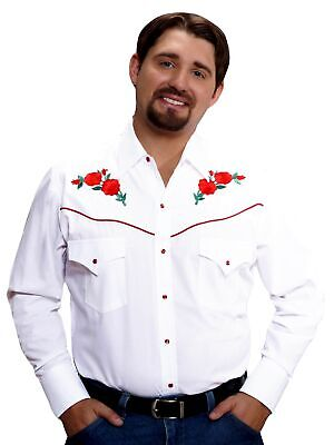 Western Shirt Red Rose White