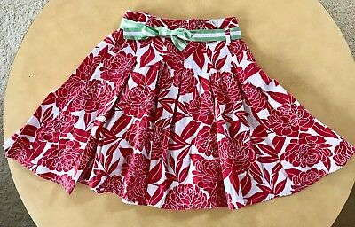 Mini Boden Girls Skirt ~ Fifties Twirl ~ Size 9 10 Y ~ Red Floral