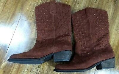 ee6bff22eec LUCKY BRAND WOMENS MADONNA Bourbon Leather Western Boots US Size 9M